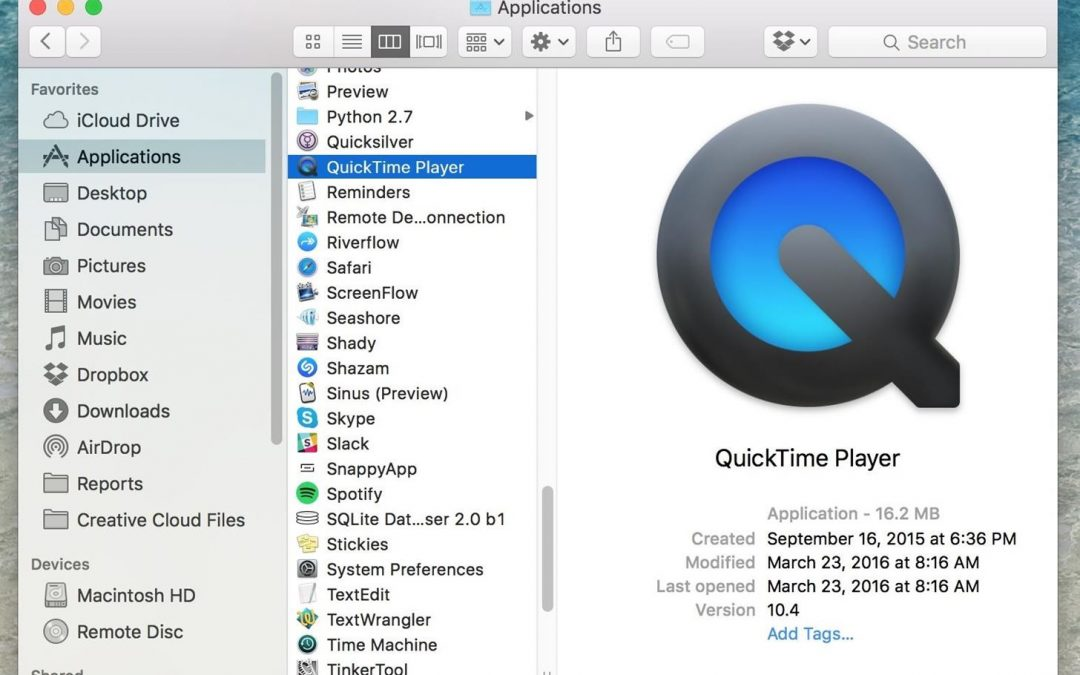 Quicktime: handy tool for editing your videos